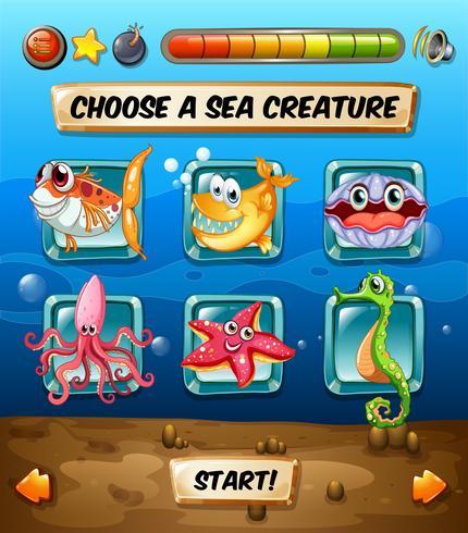 Computerspielschablone mit Unterwasserszene
