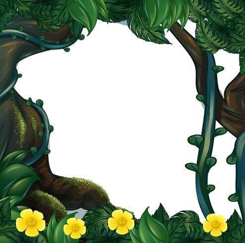 Diseño de marco con flores y árboles.