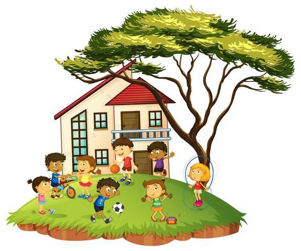 Scen med barn leker hemma