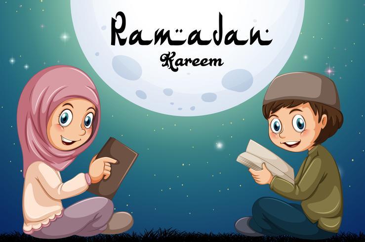Niño musulmán y niña leyendo libros