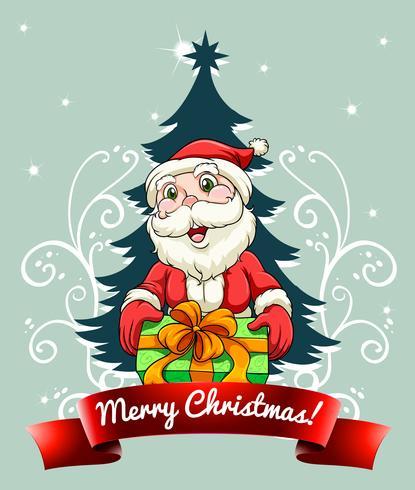 Julkort med Santa och gåva