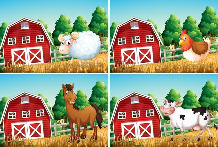 Set di animali in fattoria