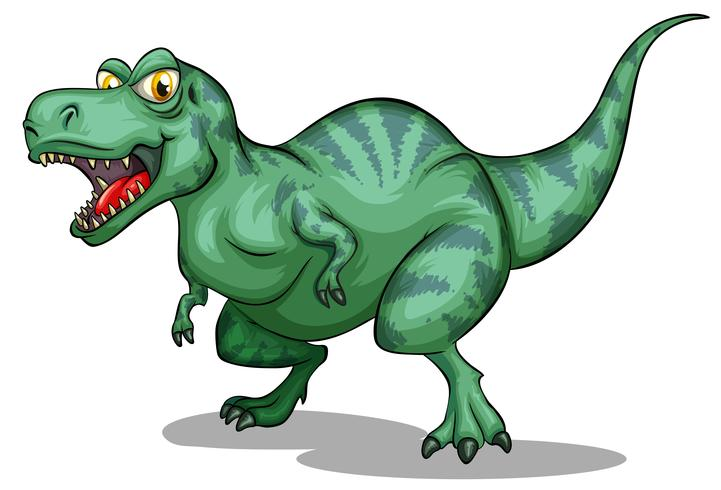 Verde tiranosaurio rex con dientes afilados
