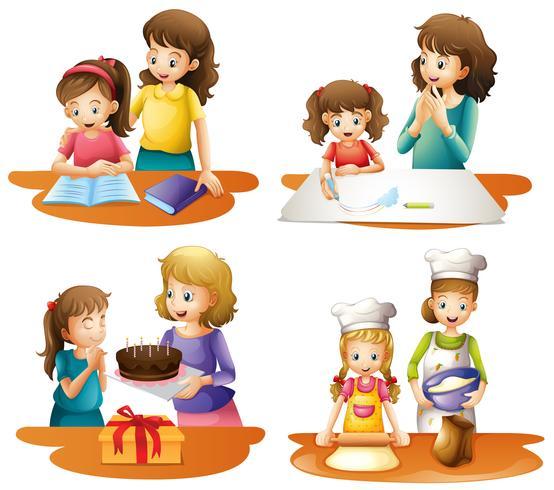 Vier Aktivitäten von Mutter und Tochter