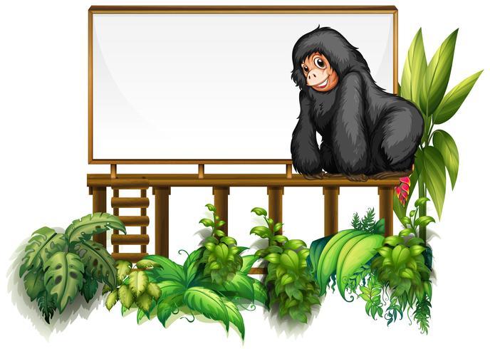 Brettschablone mit Gorilla im Garten