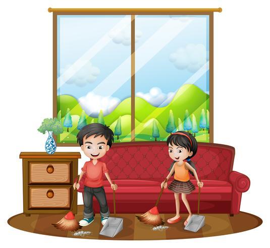 Due bambini che spazzano il pavimento