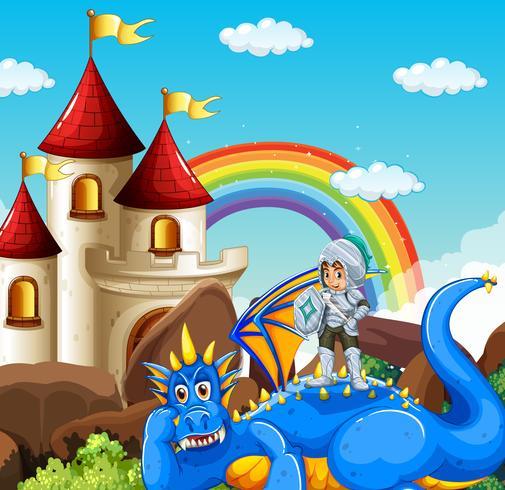 Scène met ridder en blauwe draak