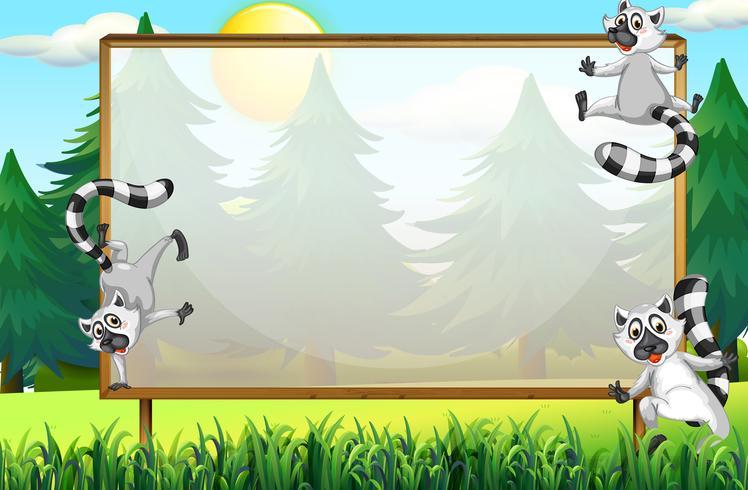 Rahmendesign mit Lemuren im Park