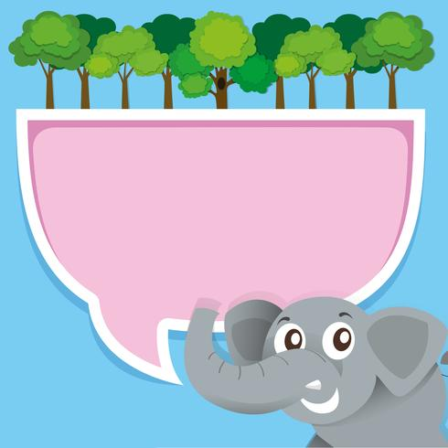 Border design with elephant and jungle