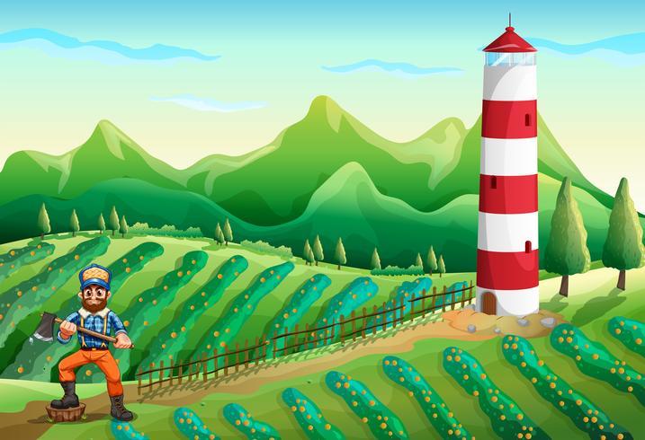 Uma fazenda com uma torre e um lenhador