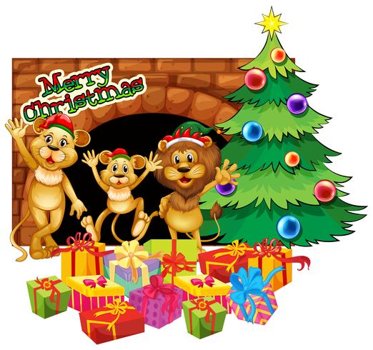 Christmas theme with three lions and presents