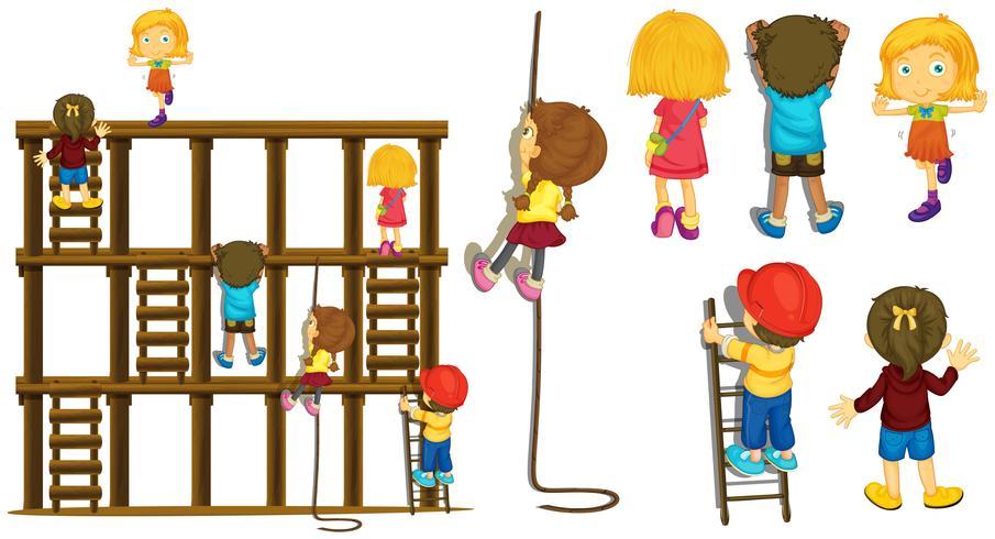 Crianças, subindo, escada, e, corda