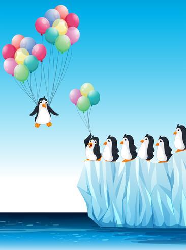 Pingviner på is och flygande med ballonger vektor