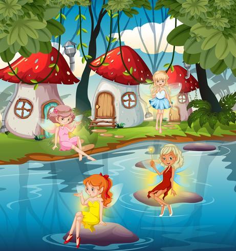 Fairy at the magic land vector