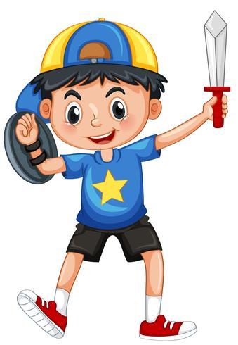 Niño pequeño con armadura y espada.