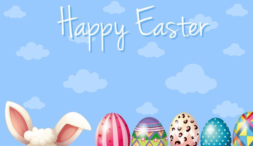 Plantilla de tarjeta de feliz Pascua con conejito y huevos