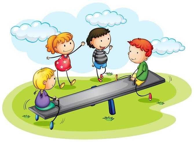 Niños jugando balancín en el parque