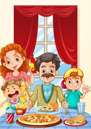 Família, pizza, ligado, jantando tabela