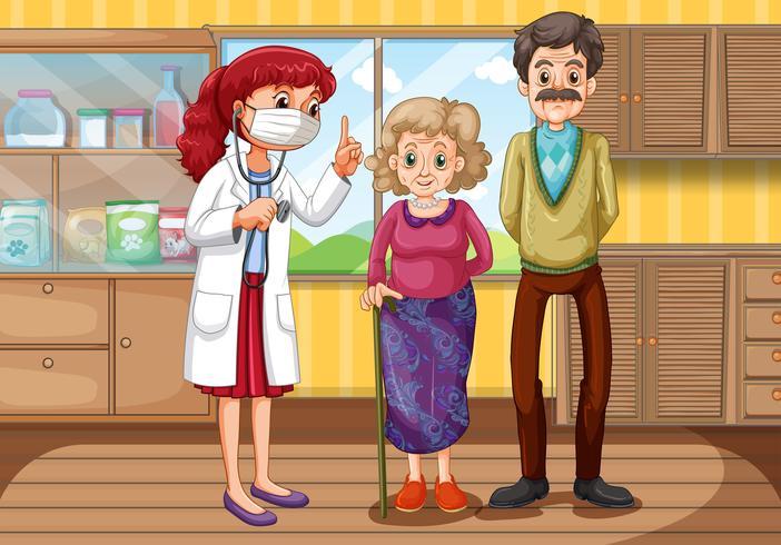 Médico y dos pacientes en clínica.