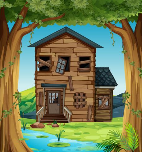 Ruined house in the woods vector