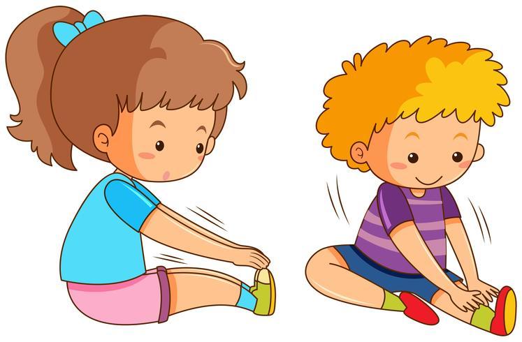 Jungen und Mädchen trainieren