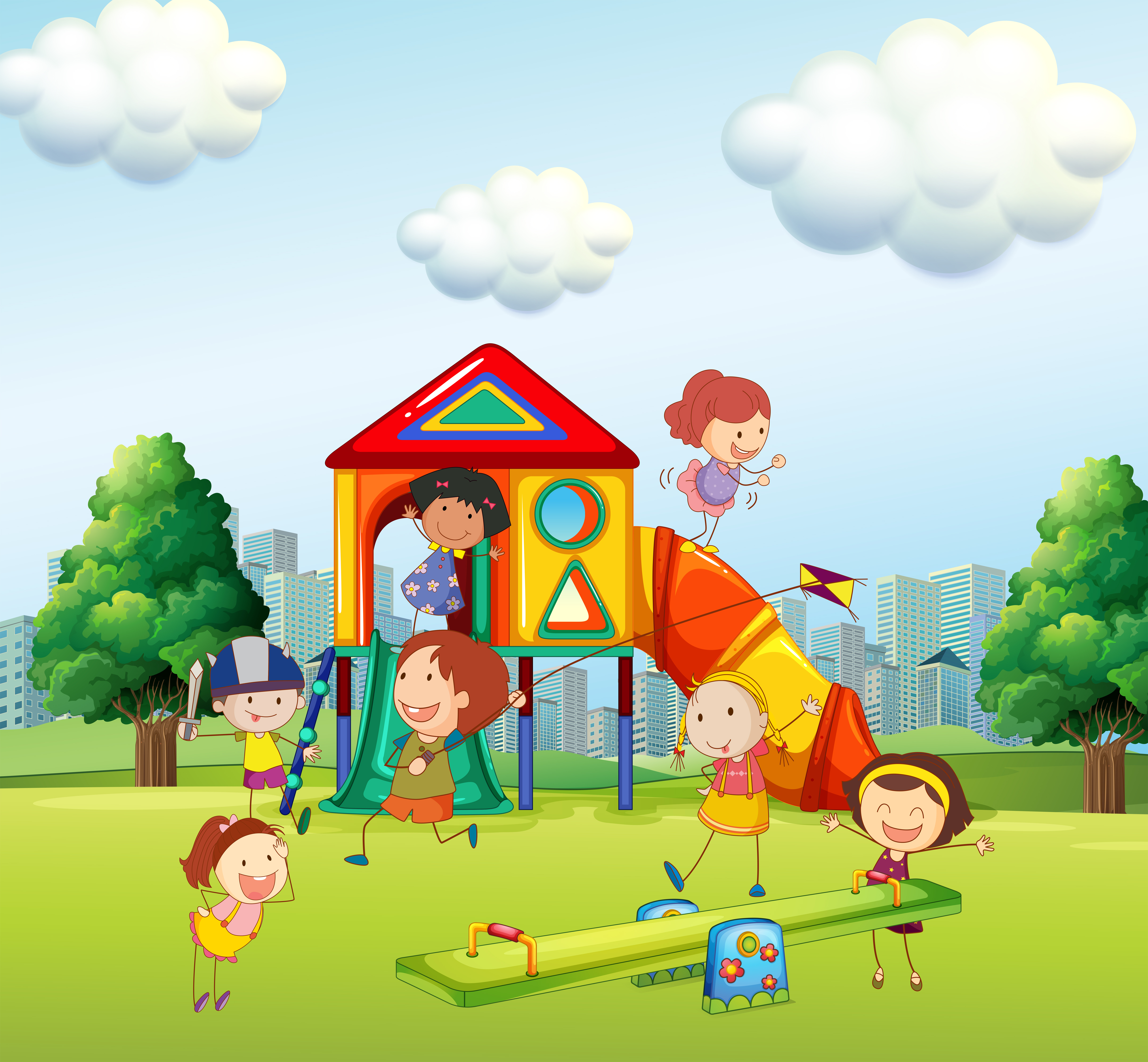 Children playing slide in the park - Download Free Vectors ...