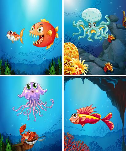 Vier scènes van zeedieren in de zee