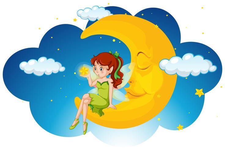 Cute fairy sitting on the moon