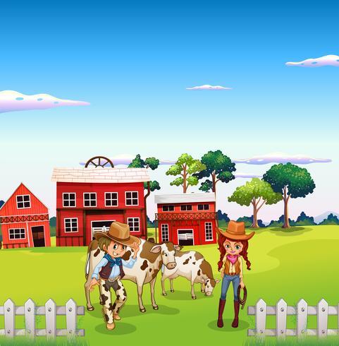 Um cowboy e uma cowgirl na fazenda