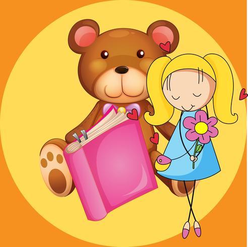 Linda garota e ursinho de pelúcia