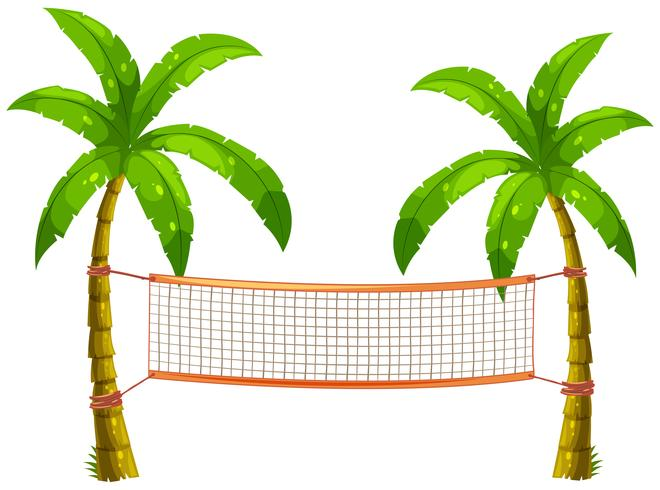 Volleyball net on coconut trees vector