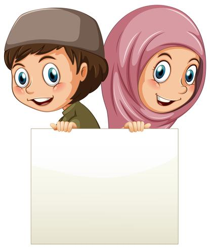 Menina muçulmana e menino segurando papel em branco