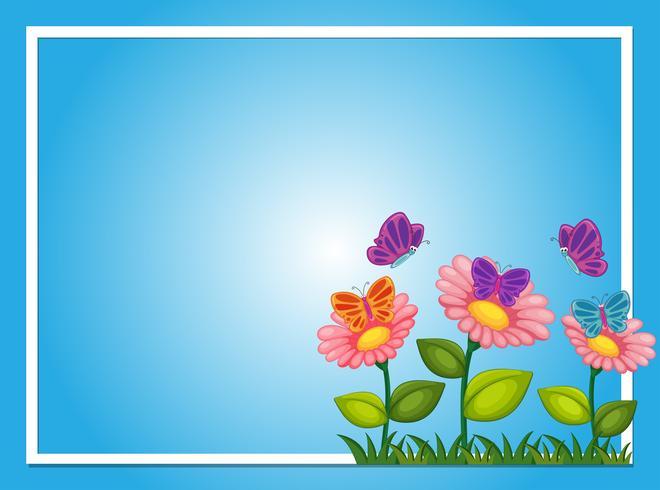 Mod le de bordure avec des fleurs et des papillons t l chargez de l 39 art des graphiques et des - Modele de papillon ...