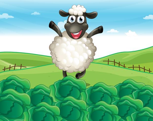Uma ovelha acima da colina com uma fazenda