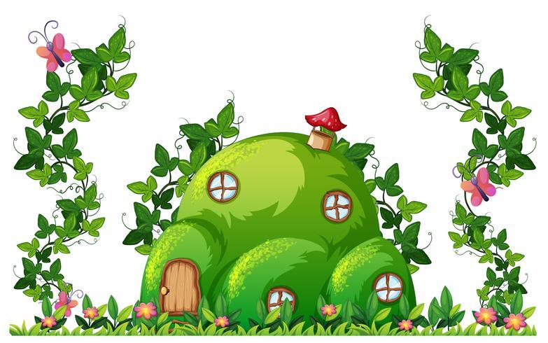 Uma casa colina verde