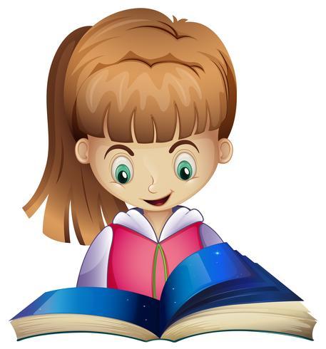 Glad tjej läsning bok