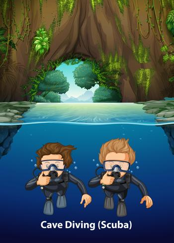 Sob a cena do mergulho autônomo da caverna
