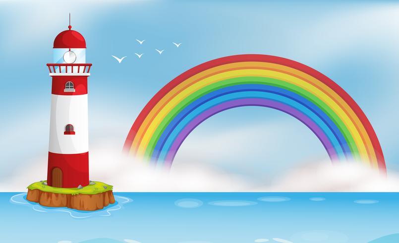 Isla del faro y paisaje marino del arco iris