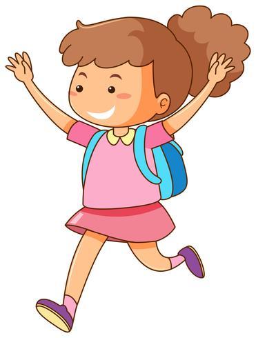 Menina com mochila azul