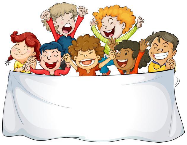 Modelo de banner com crianças felizes
