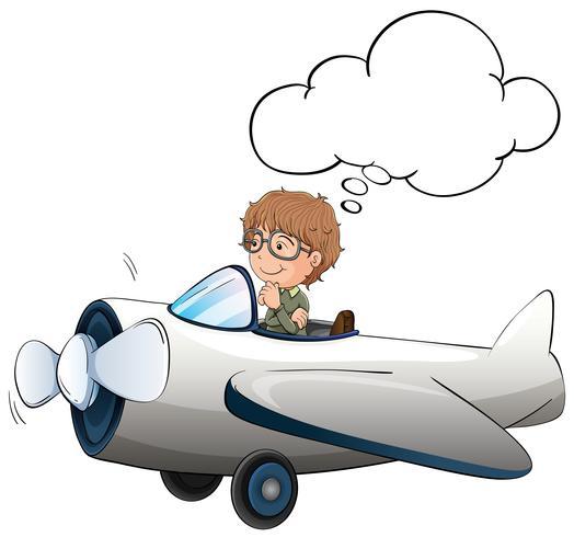 Menino, jato voando, avião, em, a, céu