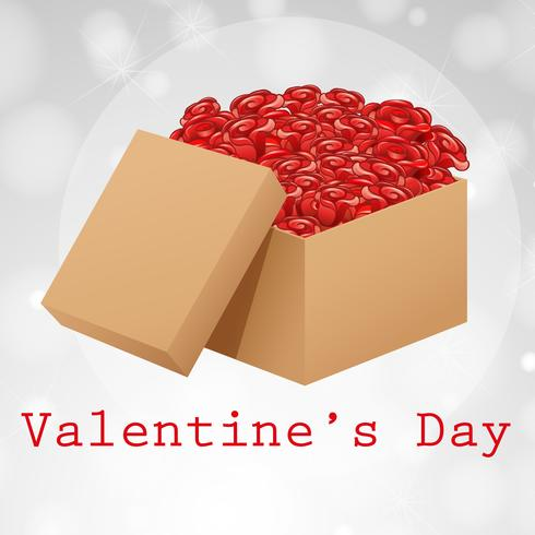Velentine card template with box of roses