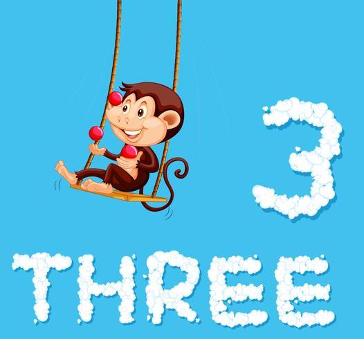Um macaco fazendo malabarismos com três bolas