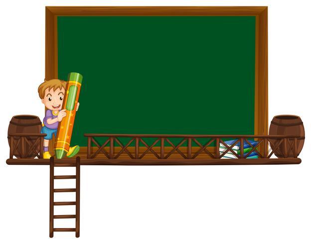 Board mall med pojkehållande krita