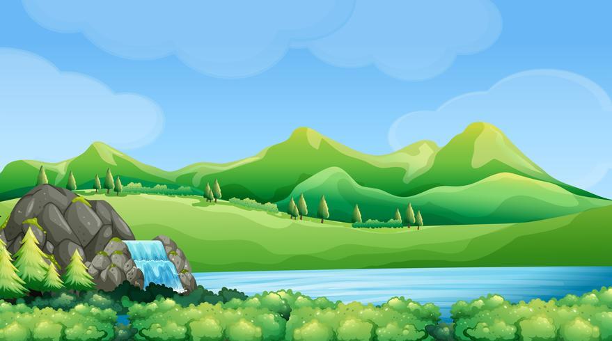 Escena de la naturaleza con cascada y montañas