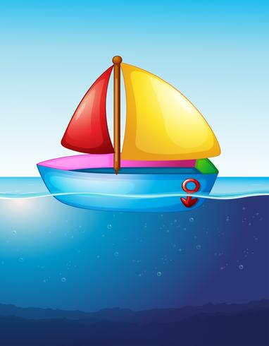Toy boat floating on water