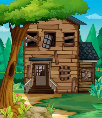 Maison en bois en mauvais état dans la jungle