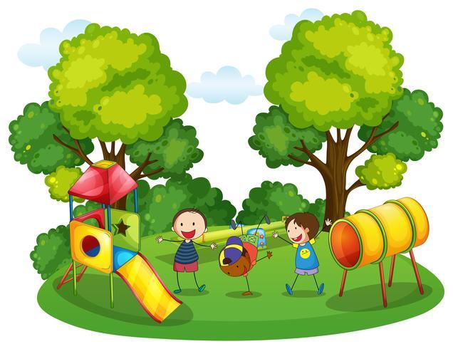 Barn leker på lekplatsen