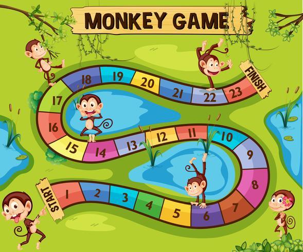 Modelo de jogo de tabuleiro com macacos na selva