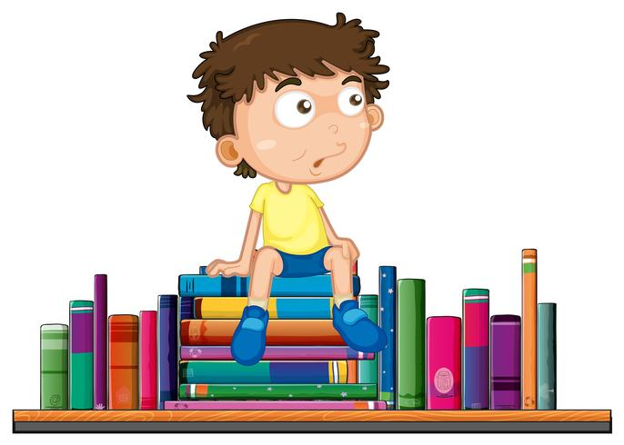 Boy sits on pile of book